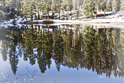 Cabin On The Lake- Winter Vision Art Print by Janie Johnson
