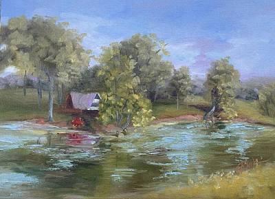 Cabin On The Pond Art Print