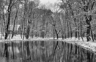 Winter Cabin Photograph - Cabin On The Pond by Jeff Klingler