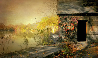 Autumn Leaf On Water Photograph - Cabin On The Reservoir by Diana Angstadt