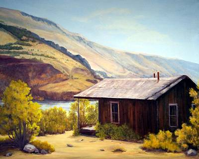 Painting - Cabin On The Snake River Ghost Town Of Holmstead Oregon by Evelyne Boynton Grierson