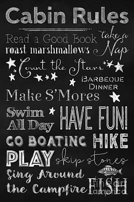 Cabin Rules Lodge Fun Chalkboard Typography Art Art Print