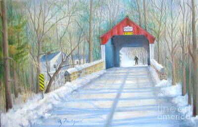 Cabin Run Bridge In Winter Art Print