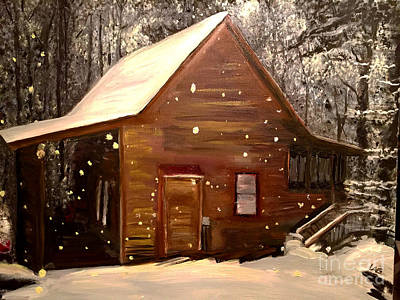 Cabin Snowy Night Original by Lisa Alex Gray