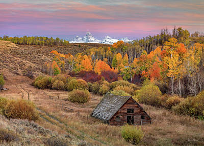 Art Print featuring the photograph Cabin Under The Tetons by Leland D Howard