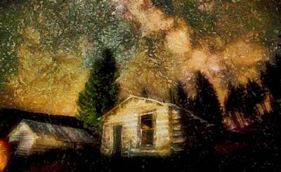 Digital Art - Cabins Under The Milky Way by Mario Carini