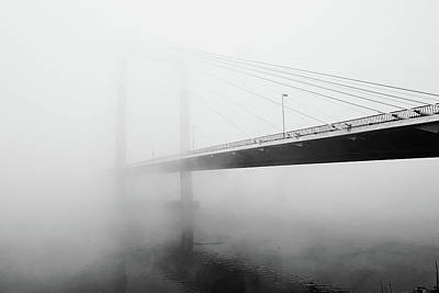Built Structure Photograph - Cable Bridge Disappears In Fog by Photos by Sonja