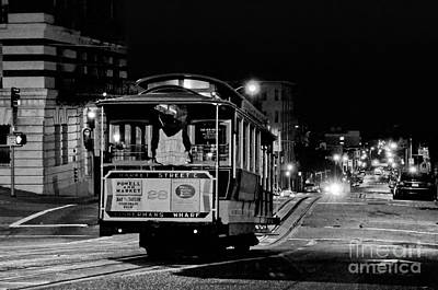 Photograph - Cable Car At Night - San Francisco by Carlos Alkmin