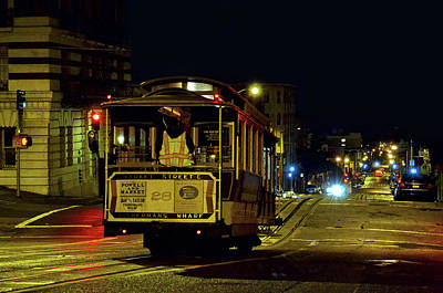 Photograph - Cable Car At Night - San Francisco - Color by Carlos Alkmin