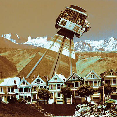Photograph - Cable Car Fly - San Francisco Collage by Art America Gallery Peter Potter