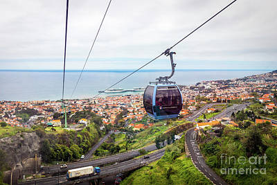 Arial View Photograph - Cable Car In Funchal, Madeira, Portugal by Liesl Walsh