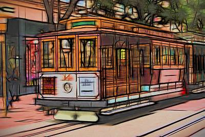 Streetcars Digital Art - Cable Car San Francisco by Michael Moriarty