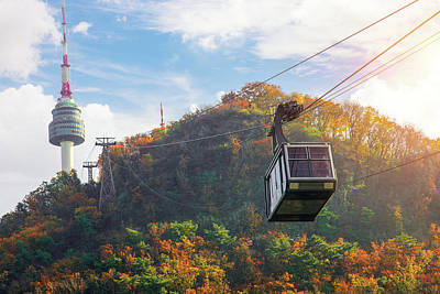 Photograph - Cable Car To Seoul N Tower  by Anek Suwannaphoom