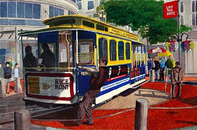Cable Car Turntable At Powell And Market Sts. Art Print