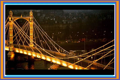 Mixed Media - Cable-stayed Gold Sparkle Bridge At Night In London by Navin Joshi