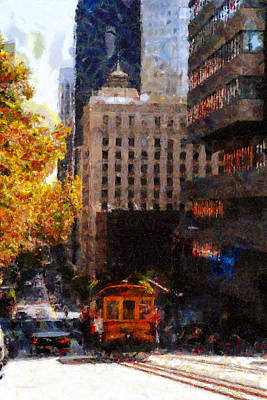 Bay Area Digital Art - Cablecar On San Francisco California Street  . Painterly . 7d7176 by Wingsdomain Art and Photography