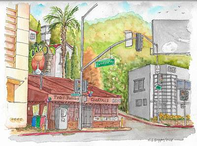 Los Angeles Landscape Painting - Cabo Cantina, Sunset Blvd And Sweetzer Ave., West Hollywood, California by Carlos G Groppa