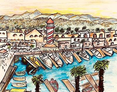 Painting - Cabo Marina  Bisbee Start by Chuck Gebhardt
