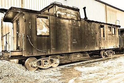 Photograph - Caboose Black And White by Lisa Wooten