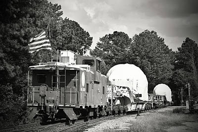 Photograph - Caboose On A H W Train 24 B W 1 by Joseph C Hinson Photography