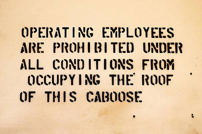 Caboose Photograph - Caboose Sign by Art Block Collections