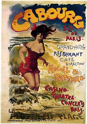 Royalty-Free and Rights-Managed Images - Cabourg - Paris - Grand Hotel - Vintage Restaurant Advertising Poster by Studio Grafiikka