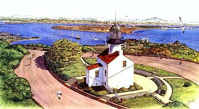 Lighthouse Images Painting - Cabrillo Old Pt. Loma Lighthtouse, San Diego by John YATO