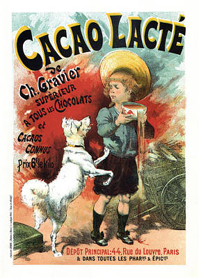 Mixed Media - Cacao Lacte - French Chocolate - Vintage Advertising Poster by Studio Grafiikka