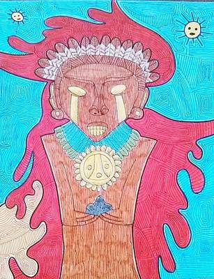 Taino Drawing - Cacique by Jose Guerrido jr