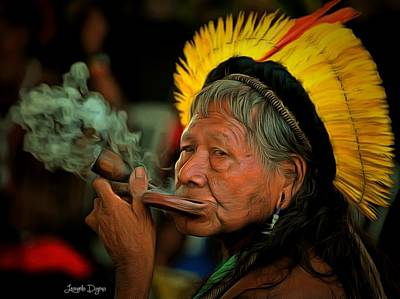 Smoking Digital Art - Cacique Raoni - Da by Leonardo Digenio