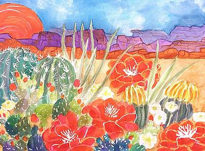 Painting - Cacti And Mesas At Sunset by Ellen Levinson