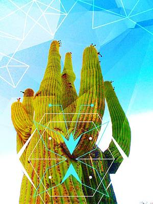 Art Print featuring the mixed media Cacti Embrace by Michelle Dallocchio