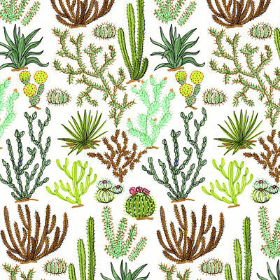 Cacti Pattern Print by Jacqueline Colley