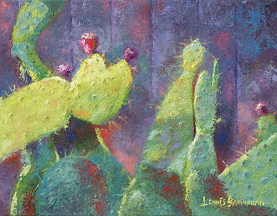 Painting - Prickly Pear Cactus Against Fence by Lewis Bowman