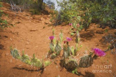 Photograph - Cactus Along Trail  Paintography by Dan Friend