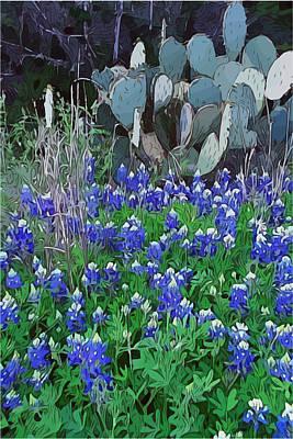 Digital Art - Cactus Bluebonnets by Gary Grayson
