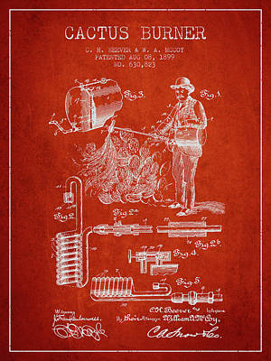 Farming Drawing - Cactus Burner Patent From 1899 - Red by Aged Pixel