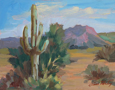 Art Print featuring the painting Cactus By The Red Mountains by Diane McClary