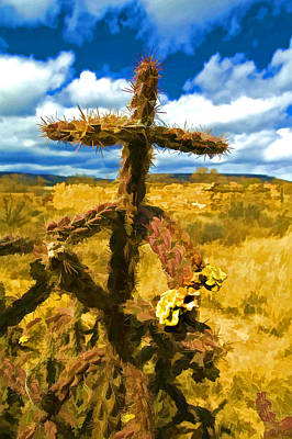 Yellow Digital Art - Cactus Cross by Lou  Novick