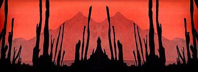 Drawing - Cactus Drawing Mirror Frieze by Julia Woodman