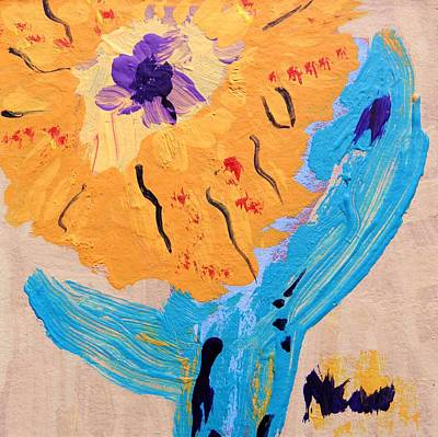 Primitive Drawing - Cactus Flower by Mary Carol Williams