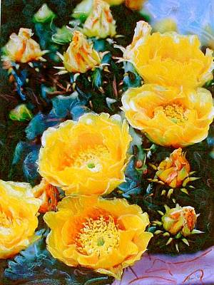 Mixed Media - Cactus Flowers by Banning Lary