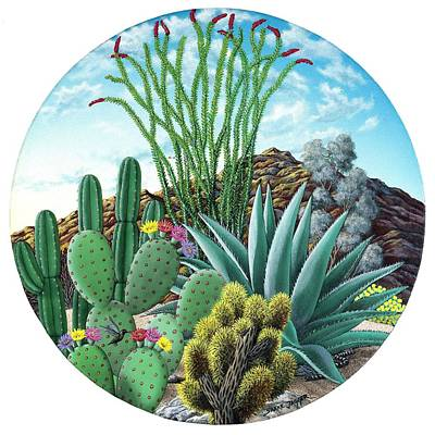 Hummingbird Painting - Cactus Garden 2 by Snake Jagger