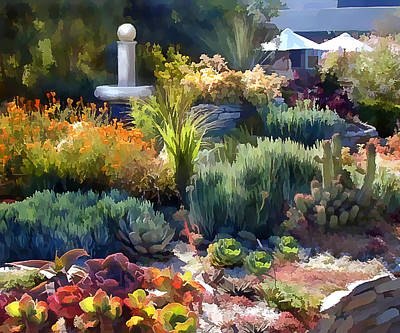 Computer Art Painting - Cactus Garden And Fountain by Elaine Plesser