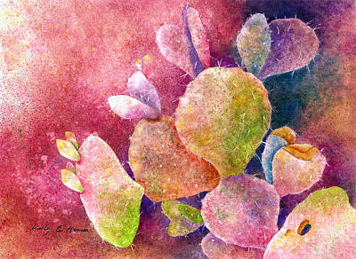 Prickly Pear Painting - Cactus Heart by Hailey E Herrera