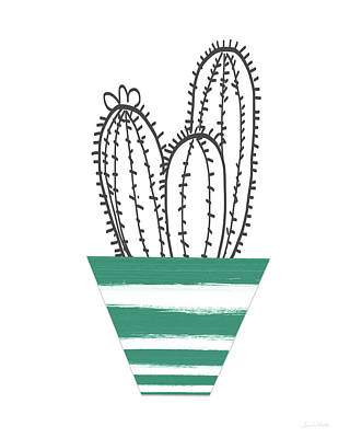 Cactus In A Green Pot- Art By Linda Woods Art Print