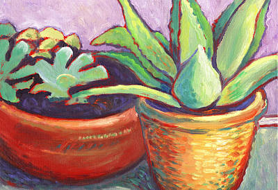Painting - Cactus In Planters by Linda Ruiz-Lozito