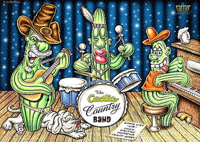 Old Town Digital Art - Cactus Jam by Cristophers Dream Artistry