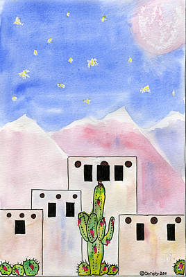 Cactus Owl Adobe Original by Christy Woodland