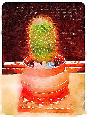 Wheelthrown Digital Art - Cactus Planter Waterlogue by Evelyn Taylor Designs